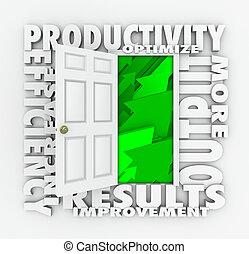 Productivity Efficiency 3d Word Door Improve Results Output...