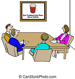 Productivity Plan - Business cartoon outlining the team's...