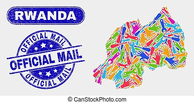 Productivity Rwanda Map and Scratched Official Mail Stamps