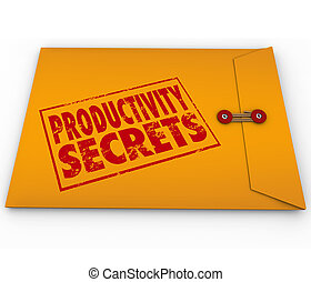 Productivity Secrets Yellow Envelope Tips Help Advice - ...