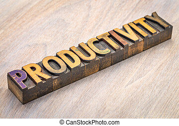 productivity word abstract in wood type