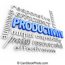 Productivity word and related terms such as streamline, responsive, efficiency, process, output, progress, effective, resourceful, capability and more in a 3d collage background