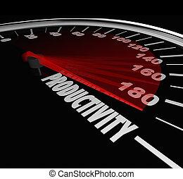Productivity word on speedometer or measurement gauge to...