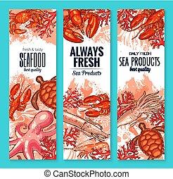 producto, alimento, mariscos,  vector, banderas, pez