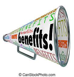producto, beneficios, características, megáfono, anunciar, ...