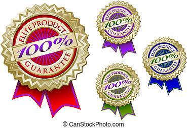 producto, conjunto, emblema, 100%, sellos, cuatro, élite, garantía
