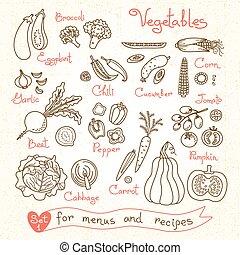 producto, conjunto, vegetales, diseño, dibujos, menús,...