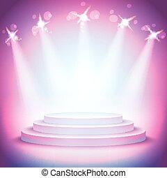 producto, empresa / negocio, encima, luces, plano de fondo, pedestal, su