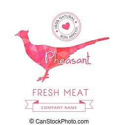 producto, faisán, carne, animal, recetas, símbolo, siluetas...