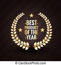 producto, ganador, etiqueta, vector, diseño, año, 2015, insignia, mejor