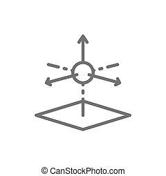 producto, línea, dimensional, 3, modelado, modelo, icon., 3d