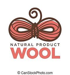 producto, lana, tejido de punto, arte, clew, arco, vector, natural, etiqueta, tejer, icono