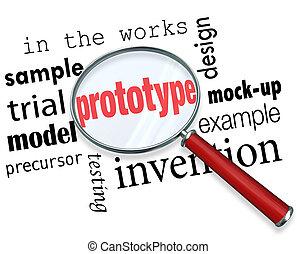 producto, maqueta, muestra, vidrio, palabras, prototipo, ...