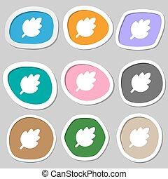 producto, symbols., natural, hoja, multicolor, papel, vector, fresco, stickers., icono