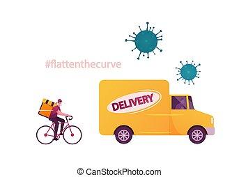 productos, bicicleta, coche., envío, clients., mensajero, ...