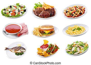 productos, conjunto, placas, alimento, vario