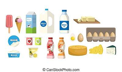 productos lácteos, set.