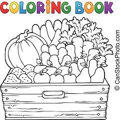 productos, tema, colorido, granja, 1, libro
