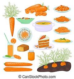productos, vector, platos, ensalada, zanahorias, juice., ...