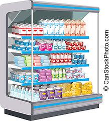 products., 搾乳場, supermarket.