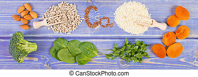 Products containing calcium and dietary fiber, healthy...