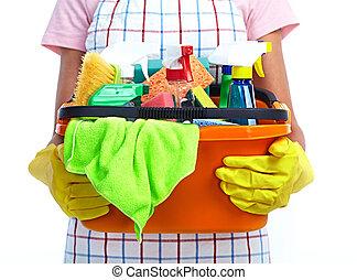 products., emmer, schoonmakende handen
