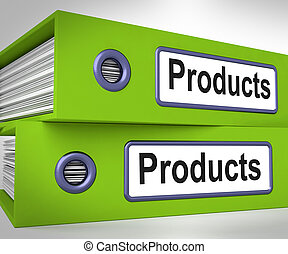 Products Folders Mean Goods And Merchandise For Sale