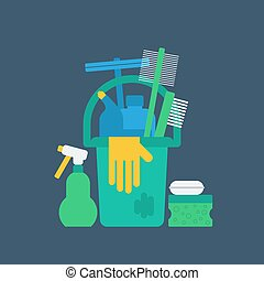 Products for cleaning home, house chores, bucket and glove, flat icon