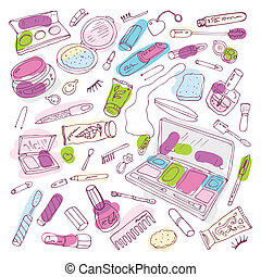 Makeup products set. Hand drawn Vector Illustration.