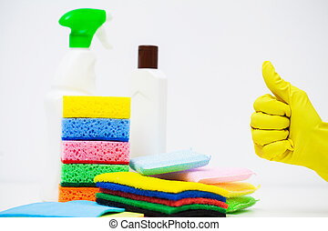 Products for professional cleaning on white background
