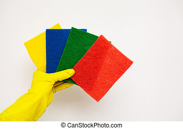 Products for professional cleaning on white background.