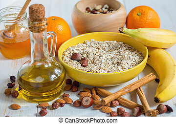 Products for the preparation of granola - a healthy breakfast.