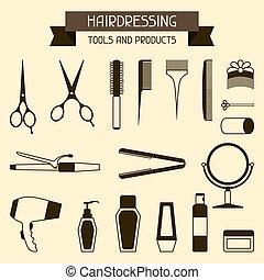 products., herramientas, peluquería