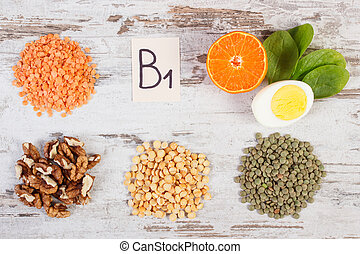 Products, ingredients containing vitamin B1, dietary fiber ...
