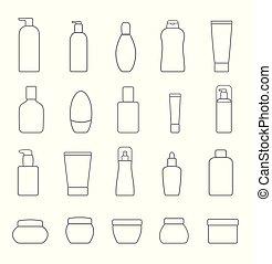 products., isolé, différent, arrière-plan., ensemble, cosmétique, blanc