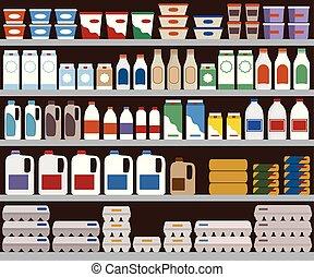 products., leiteria, supermercado, prateleiras
