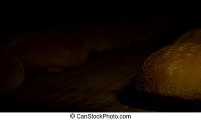 products., nourriture, ceinture, boulangerie, pain, production, factory., pains, convoyeur, frais, ligne., usine