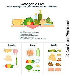 Products of ketogenic diet - Ketogenic diet vector flat...