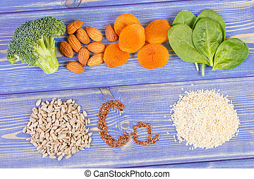 Products or ingredients containing calcium, dietary fiber...