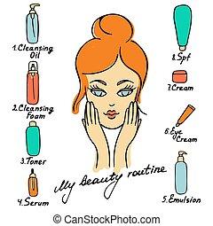 products., peau, quotidiennement, mon, ordre, inscription., soin, routine., vecteur, routine, illustration., correct, appliquer, beauté