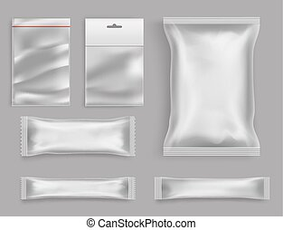Products polyethylene packaging realistic vector - Goods...