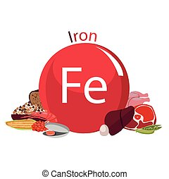 healthy food - Products rich with iron. Bases of healthy...