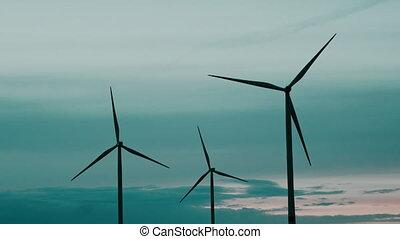 produire, sky., sources, bleu, nuages, vue., soir, énergie, aérien, turbines, contre, énergie, alteranativnye, renouvelable, fond, vent