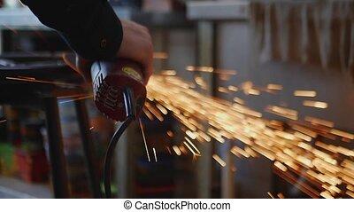 produit, angle, métal, grinder., atelier, maître, coupures