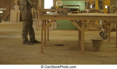 produit, assembles, ouvrier, scierie, fini, bois, menuisier