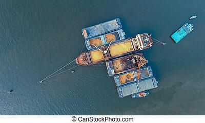 produit, chargement, récipient, sommet, agricole, bateau, rivière, port, vue