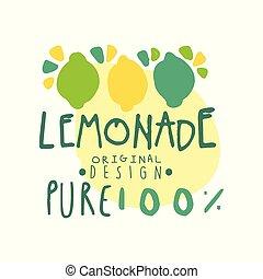 produit, citron, coloré, sain, cent, naturel, illustration, main, vecteur, conception, pur, dessiné, 100, écusson, original, logo