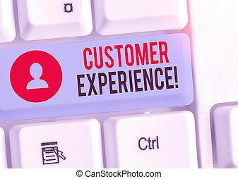 produit, concept affaires, texte, écriture, experience., buyer., client, interaction, mot, entre, organisation
