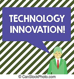 produit, concept, mot, business, bubble., couleur, texte, procédés, écriture, conversation, innovation., parole, changements, significatif, vide, homme affaires, sourire, rectangulaire, technologie, technique
