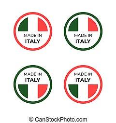 produit, fait, écusson, conception, symbole, italie, emblème